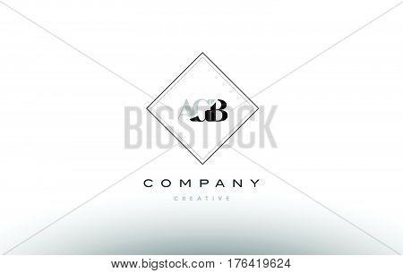 Agb A G B Retro Vintage Rhombus Simple Black White Alphabet Letter Logo