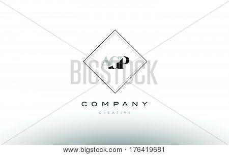 Agp A G P Retro Vintage Rhombus Simple Black White Alphabet Letter Logo