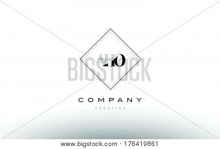 Aho A H O Retro Vintage Rhombus Simple Black White Alphabet Letter Logo