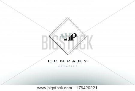 Ahp A H P Retro Vintage Rhombus Simple Black White Alphabet Letter Logo