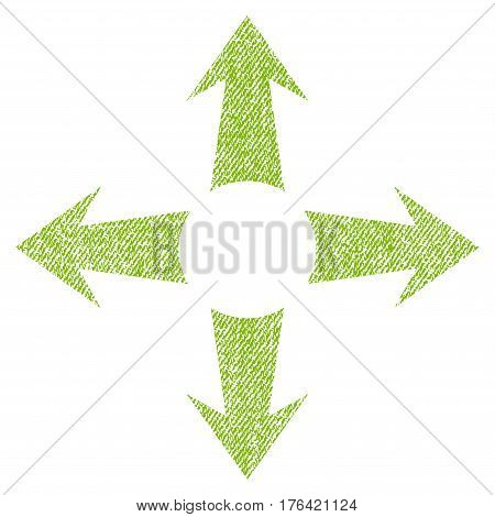 Expand Arrows vector textured icon for overlay watermark stamps. Fabric light green vectorized texture. Symbol with unclean design. Rubber seal stamp with fiber textile structure.