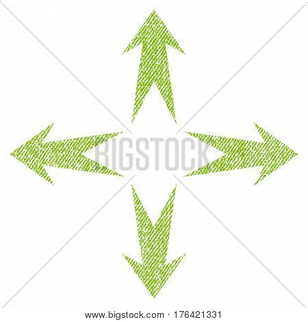 Expand Arrows vector textured icon for overlay watermark stamps. Fabric light green vectorized texture. Symbol with dirty design. Rubber seal stamp with fiber textile structure.