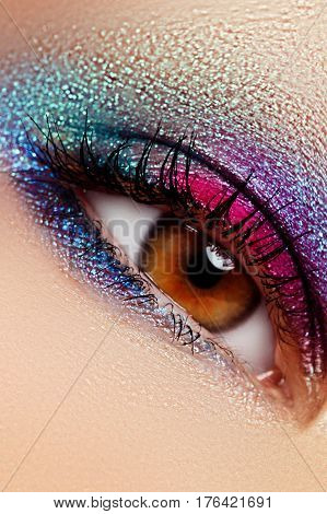 Close-up Of Beautiful Female Eye With Marine Colors Eyeshadow
