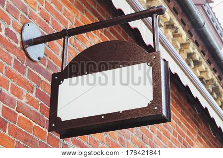 Vintage empty outdoor business signage mock up to add company logo