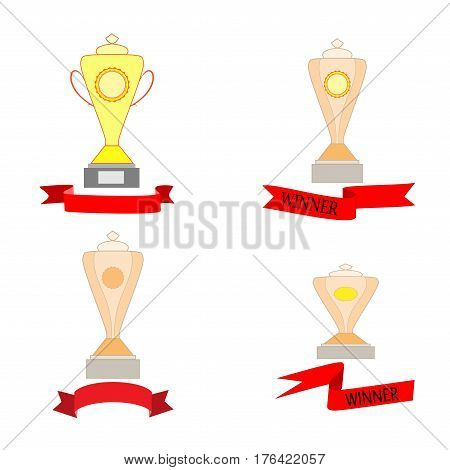Cup and ribbon reward set. Modern symbol of victory and award achievement sport. Insignia ceremony awarding of winner tournament. Colorful template for badge tag etc Design element Vector illustration