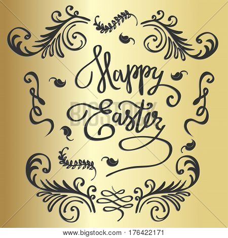 Easter vector vintage card with phrase Happy Easter. Easter T shirt Hand lettering. Vector llustration. Hand drawn typography poster. Conceptual handwritten phrase.