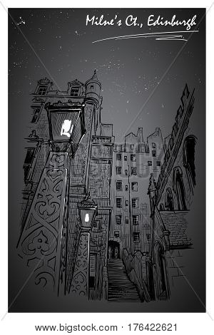 Milne's court passageway at night. Edinburgh, Scotland, the UK. Urban sketch series. Ink or engraving style sketch isolated on textured night sky background. Editable EPS10 vector illustration.