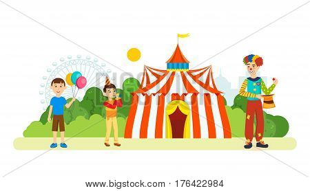 Clown entertains children in front of the building of the circus, an amusement park and recreation, children playing and having fun. Vector illustration. Can be used as banners, brochures, leaflets.
