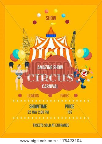 Invitation to the circus in the form of posters, decorated in bright colors, depicting clowns and appearance of the room. Vector illustration. Can be used as banners, brochures, leaflets.