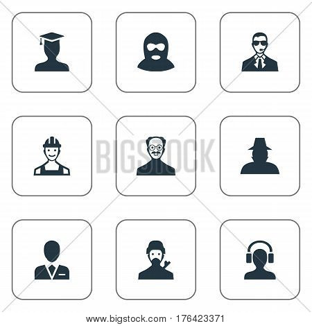 Vector Illustration Set Of Simple Member Icons. Elements Workman, Felon, Postgraduate And Other Synonyms Graduate, Culprit And Worker.