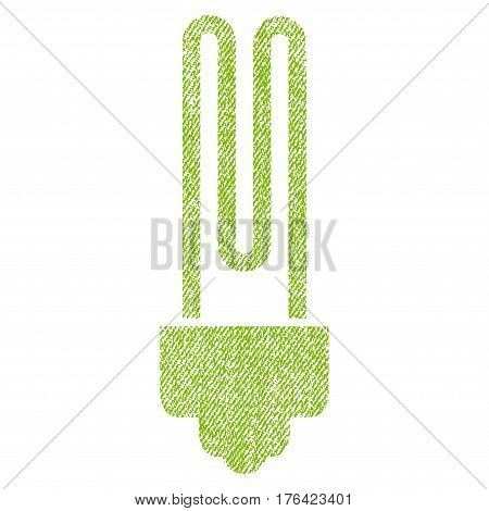 Fluorescent Bulb vector textured icon for overlay watermark stamps. Fabric light green vectorized texture. Symbol with dirty design. Rubber seal stamp with fiber textile structure.