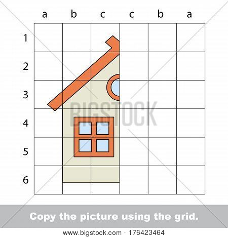 Vector kid educational game with easy game level for preschool kids education, finish the simmetry picture using grid sells, the funny drawing kid school. Drawing tutorial for half House.