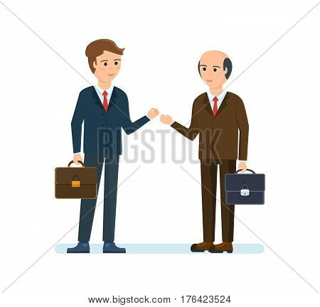 Business people working office concept. Partners are discussing in his office, objectives and financial position of both parties. Vector illustration isolated on white background.