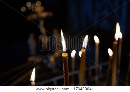 The candles in orthodox church. Selective focus