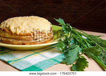 Pancakes Pie With Mushrooms And Chicken Meat. Traditional Meal For Maslenitsa - Russian Pancake Week