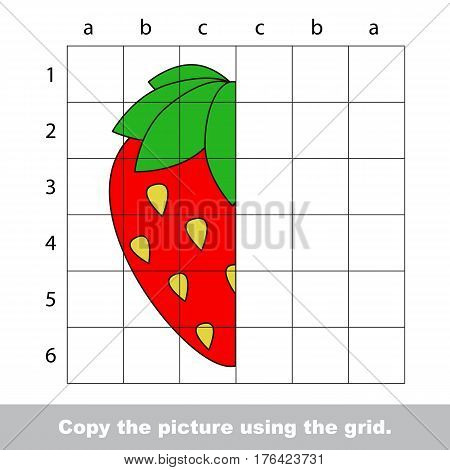 Vector kid educational game with easy game level for preschool kids education, finish the simmetry picture using grid sells, the funny drawing kid school. Drawing tutorial for half Strawberry.