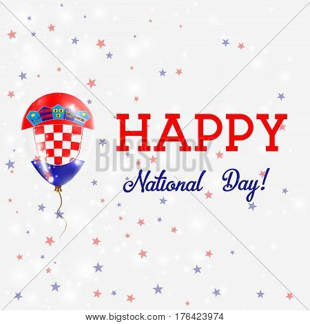 Croatia National Day Patriotic Poster. Flying Rubber Balloon In Colors Of The Croatian Flag. Croatia