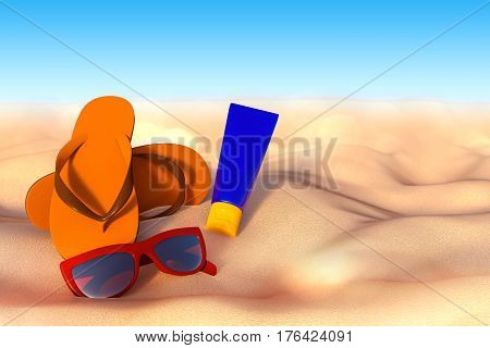 3D rendering of accessories for vacation on the sand at beach sunglasses flip flops and sunscreen bottle.