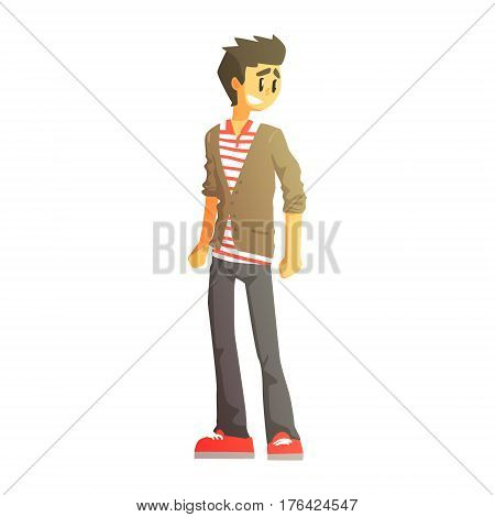 Guy In Polo T-Shirt, Cardingan And Trainers, Young Person Street Fashion Look With Mass Market Clothes. Stylish Teenager Every Day Personal Style Clothing Illustration