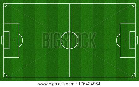 Green Football field scheme. Standard soccer markup, Vector illustration