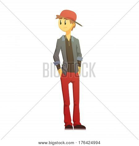 Guy In Red Pants And Cap, Young Person Street Fashion Look With Mass Market Clothes. Stylish Teenager Every Day Personal Style Clothing Illustration
