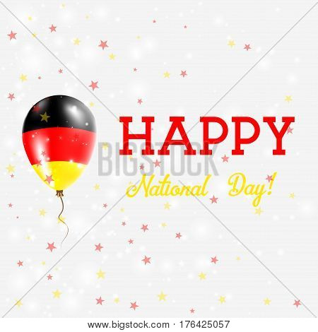 Germany National Day Patriotic Poster. Flying Rubber Balloon In Colors Of The German Flag. Germany N