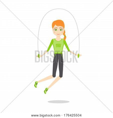 Sportswoman character. Cartoon vector flat illustration. Girl leads a healthy sport lifestyle. Red slender girl in sports clothes is jumping rope.