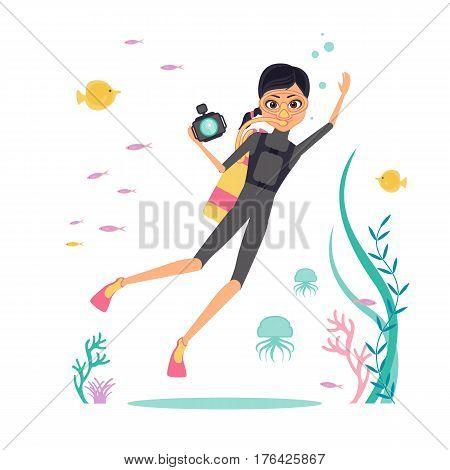 Flat design. Vector character deep-sea diver with a camera for filming underwater flora and fauna. Diver in fins, mask and scuba diving. Around the jellyfish, algae and tropical fish