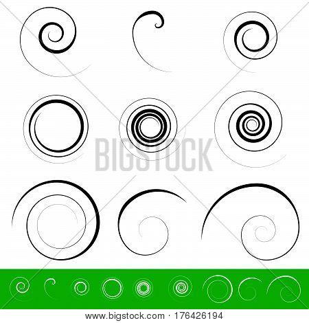 Spiral, Vortex Element Set. 9 Different Circular Shapes. Spiral Set.