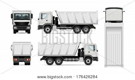 Vector dump truck. Isolated white tipper lorry. All elements in the groups have names the view sides are on separate layers for easy editing. View from side back front and top.