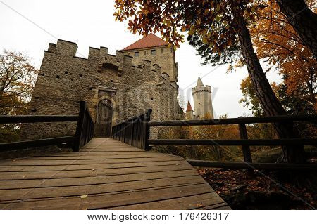 Small castle Kokorin in the beautiful colors of autumn time