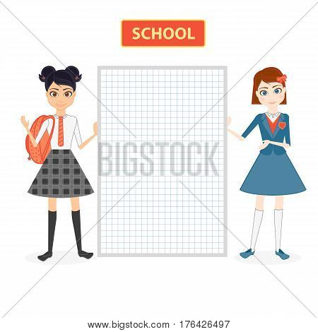 Schoolgirl character. Cartoon vector flat illustration. Girls friend pupil in school uniforms. A student in a traditional school uniform.