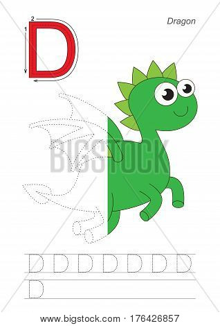 Vector exercise illustrated alphabet, kid gaming and education. Learn handwriting. Half trace game. Easy educational kid game. Tracing worksheet for letter D. Dragon.