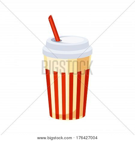 Soft Drink In Paper Cup With Straw, Street Fast Food Cafe Menu Item Colorful Vector Icon. Isolated Eatable Object For Snack Lunch Representing Unhealthy Eating Habits.