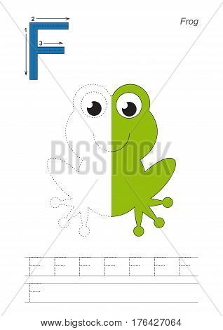 Vector exercise illustrated alphabet, kid gaming and education. Learn handwriting. Half trace game. Easy educational kid game. Tracing worksheet for letter F. Frog.s