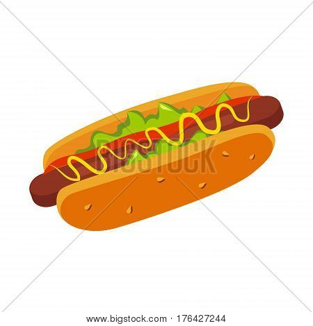 Hor Dog In Bun With Mustard, Street Fast Food Cafe Menu Item Colorful Vector Icon. Isolated Eatable Object For Snack Lunch Representing Unhealthy Eating Habits.