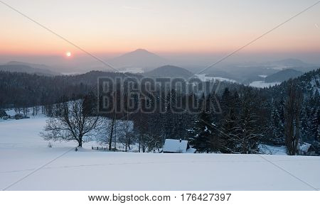 Winter panorama in the Czech Switzerland with snow and frost