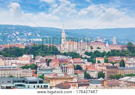 St. Matthias Church in the Fisherman's Bastion in Budapest, Hungary. Panorama of Budapest with a church