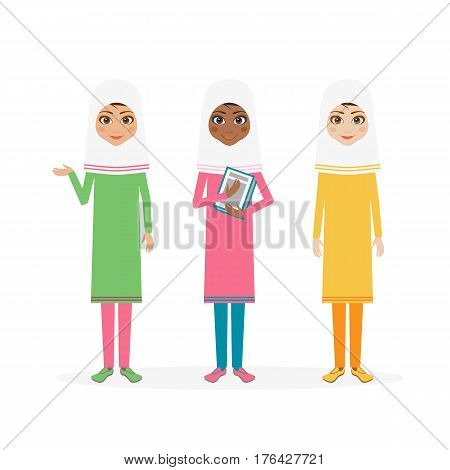 Schoolgirl character. Cartoon vector flat illustration. Muslim girl pupil in hijab.