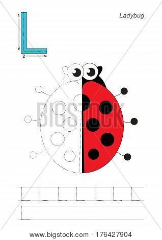 Vector exercise illustrated alphabet, kid gaming and education. Learn handwriting. Half trace game. Easy educational kid game. Tracing worksheet for letter L. Ladybug.