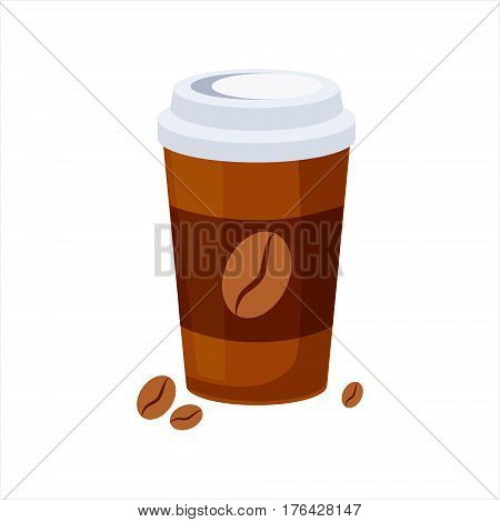 Take Away Coffee Paper Cup, Street Fast Food Cafe Menu Item Colorful Vector Icon. Isolated Eatable Object For Snack Lunch Representing Unhealthy Eating Habits.