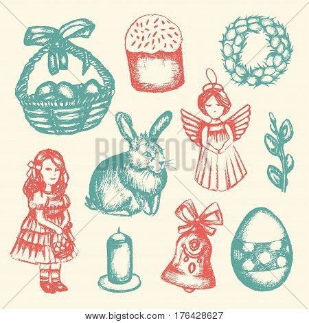 Happy Easter - color vector hand drawn illustrative composition. Realistic basket, egg, cake, angel, chaplet, rabbit, violet willow, girl, candle, bell, chicken.