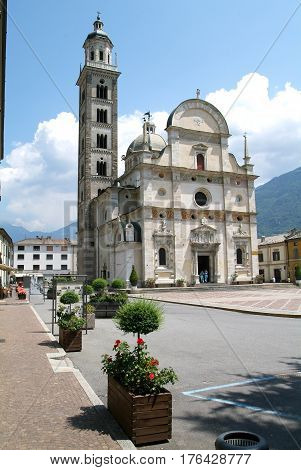 People Walking Out Of Basilica Madonna At Tirano