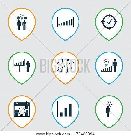Set Of 9 Board Icons. Includes Bar Chart, Project Targets, Planning And Other Symbols. Beautiful Design Elements.
