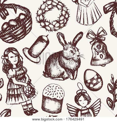 Happy Easter - monochromatic vector hand drawn seamless pattern. Realistic basket, egg, cake, angel, chaplet, rabbit, violet willow, girl, candle, bell, chicken.