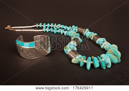 Antique Native American Sterling Silver Hollow-Form Cuff Bracelet with Overlay and Turquoise Inlay and Large Turquoise Nugget and Silver Necklace.