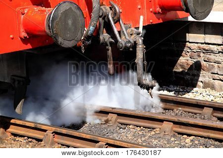 Jet of steam released from a steam locomotive