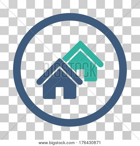 Realty icon. Vector illustration style is flat iconic bicolor symbol cobalt and cyan colors transparent background. Designed for web and software interfaces.