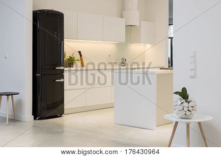 White Kitchen With Black Fridge