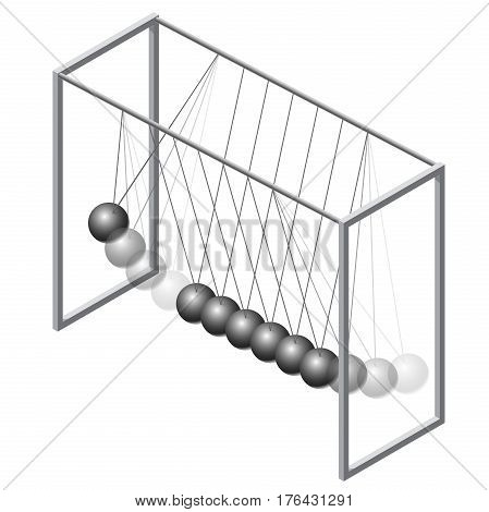 Vector Newton swing in isometric 3d perspective. Pendulum cradle metal bolls, isolated on white background. Low poly flatten master illustration.